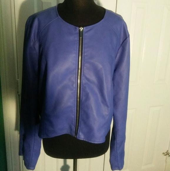 1c6fd1c045e18 Ashley Stewart Jackets & Coats | Purple Faux Leather Style Jacket ...
